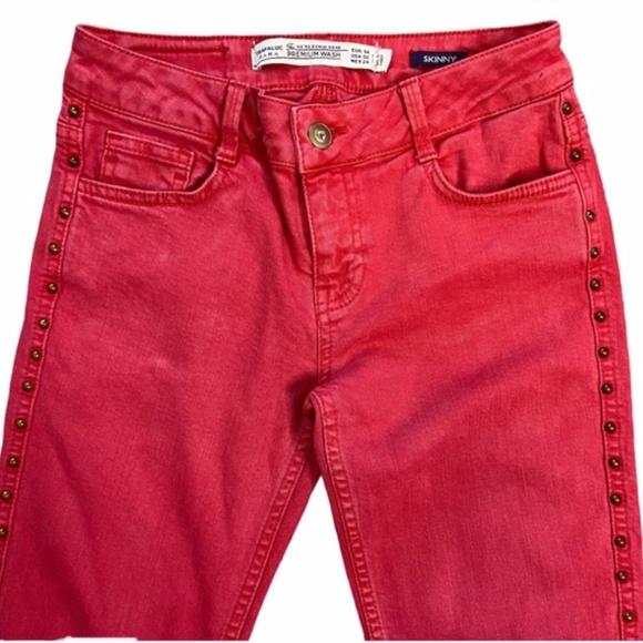 Zara Premium Wash Skinny Studded Jeans Red 2